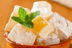 Stock Photo of Greek loukoumi (Turkish delight) with delicious Mastic flavor