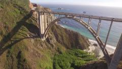 California Coastline-Highway 1 Bixby Bridge Stock Footage