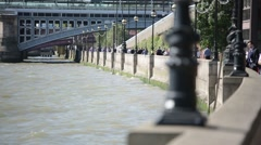 River Bank of Thames River: lanterns and Embankment, London, England - stock footage