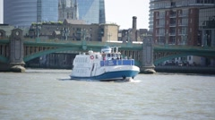 River Cruise on Thames River, London, England - stock footage