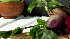 Beetroots rustic wooden table  Stock Footage