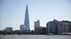 Shard and Thames River, London, England Stock Footage