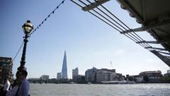 Stock Video Footage of The Shard (tilt) and the millennium bridge, London, GB, EU, UK, Europe