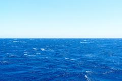 The water of Mediterranean Sea on  bright day - stock photo