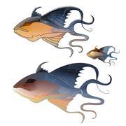 Fabulous illustration of fantastic fish delicate purple shades Stock Illustration