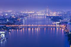 Bangkok skyline twilight cityscape topview. Thailand. - stock photo