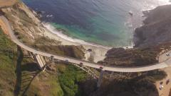 California Coastline-Highway 1 Bixby Bridge Aerial Cars - stock footage