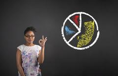 Stock Photo of African woman with perfect hand signal and pie chart on blackboard background