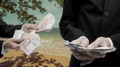 Stock Photo of Travel expenses concept, Businessman make money from beach