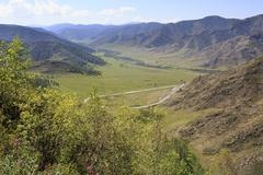 Beautiful view of Altai Mountains on the pass Chike Taman Stock Photos
