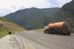 Tanker on Chuysky Trakt in Altai Republic Stock Photos