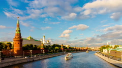 Moscow city. Russia. Kremlin and Moscow river time lapse. Stock Footage