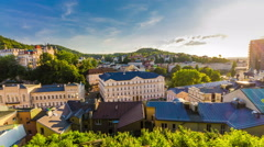 Karlovy Vary (Carlsbad) Czech Republic. Panoramic view. Stock Footage