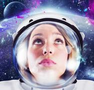 Woman astronaut - stock photo