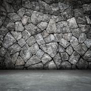 Stone wall room interior and concrete floor with space Stock Photos