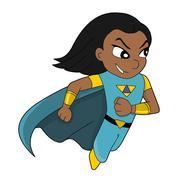 Cute superhero girl cartoon - stock illustration