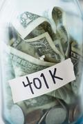Close up of 401K savings jar - stock photo