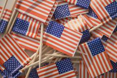 Close up of pile of American flags Stock Photos