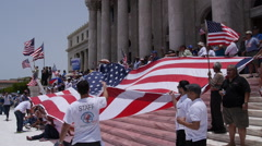 Pro-american flag activity giant us flag Stock Footage