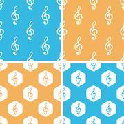Treble clef pattern set, colored - stock illustration