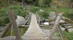 Small bridge across the river,Hunedoara Stock Footage