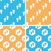 Stock Illustration of Footprint pattern set, colored