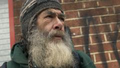 Desperate sad old man in the city: jobless, homeless, poor old man Stock Footage