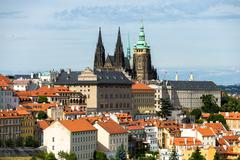 Prague St. Vitus Cathedral in the distance - stock photo