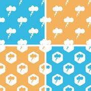Thunderbolt pattern set, colored Stock Illustration