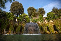 Stock Photo of Oval Fountain, Tivoli, Lazio, Italy