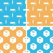 Paint roller pattern set, colored - stock illustration