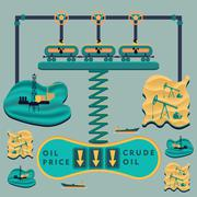 Falling oil prices Stock Illustration