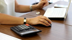 Girl working in an office close up workplace Stock Footage
