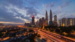 Time lapse of sunrise in Kuala Lumpur, Malaysia. High quality, Slide effect Stock Footage