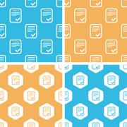 Approved document pattern set, colored - stock illustration