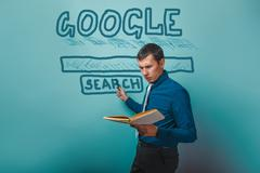 Man shows a pointer to search Google holding a book infographics Kuvituskuvat