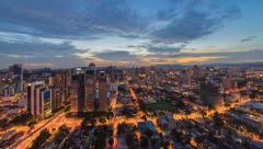 Unique timelapse view of Kuala Lumpur during a beautiful sunset, slide effect Stock Footage
