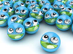 3D Round Smiley Faces. Stock Photos