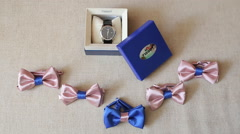 Wedding Accessories, Butterfly And Watch - stock footage
