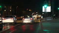 Traffic at night in Istanbul, in a stop signal. - stock footage