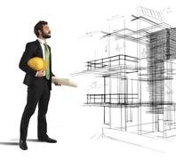 Architect imagines a project - stock photo