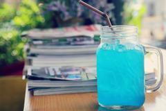 Blue Hawaiian lime soda - stock photo