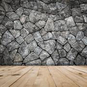 Stone wall for room interior with wood floor Stock Photos