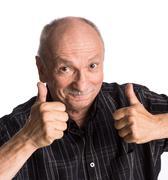 Elderly man showing ok sign Stock Photos