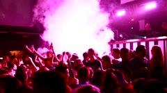 Nightclub Crowd Party Shot, Festival, Strobe Lighting, Young People Dancing Stock Footage