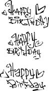 Stock Illustration of happy birthday wish cut out liquid curly graffiti fonts