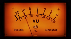 Analogue VU meter in recording studio - stock footage