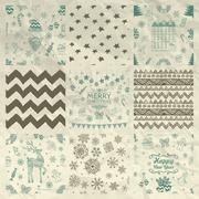 Christmas Seamless Background Set on Crumple Paper - stock illustration
