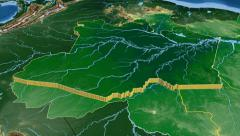 Stock Video Footage of Amazonas - Brazil  extruded. Bumps shaded.