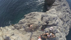 Los Saltos - Cliff jumping in spain Raw Stock Footage